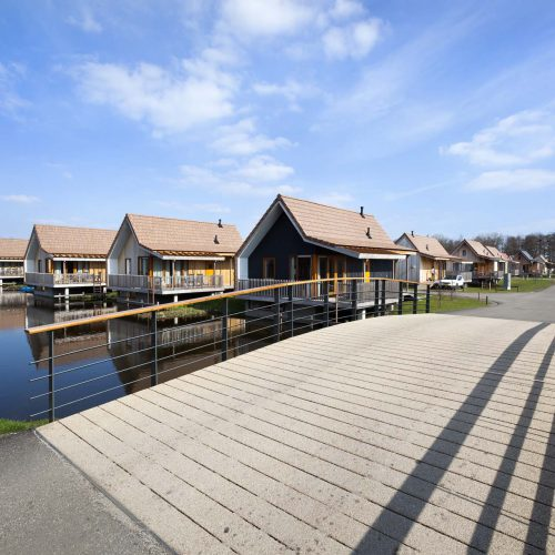 Wooden vacation houses in Reeuwijk in the Netherlands